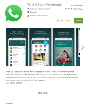Google Play 上的 WhatsApp 下載版面。